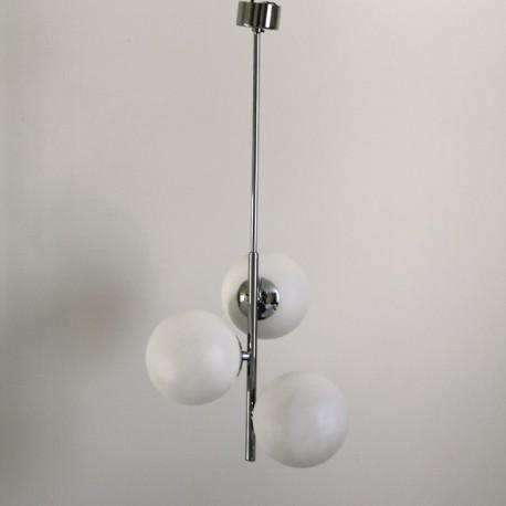 suspension 3 boules verre opaque blanc design vintage. Black Bedroom Furniture Sets. Home Design Ideas