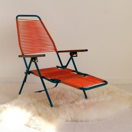 Filo Plastica Per Sedie.Sedia A Sdraio Vintage Filo Scoubidou Arancio Per Bambini