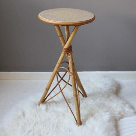 table tripode rotin
