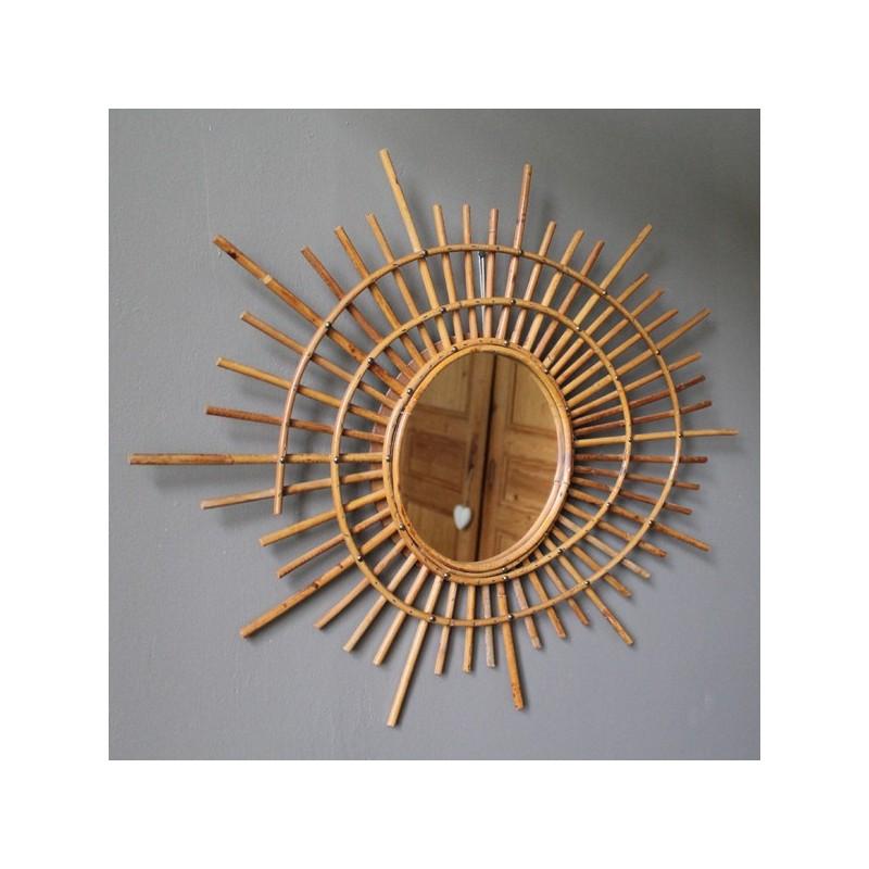 Miroir de sorci re en rotin vintage for Miroir sorciere
