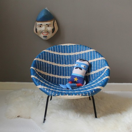 fauteuil enfant vintage scoubidou bleu et blanc. Black Bedroom Furniture Sets. Home Design Ideas