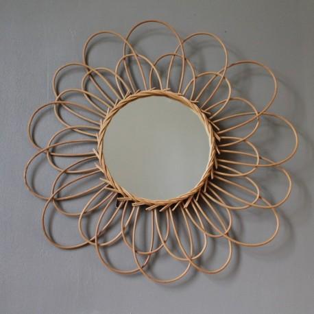 Miroir en rotin vintage en forme de marguerite for Miroir western