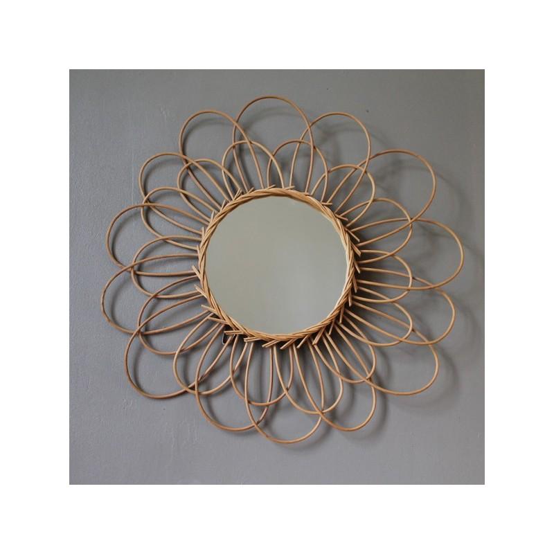 Miroir en rotin vintage en forme de marguerite for Mini miroir rotin