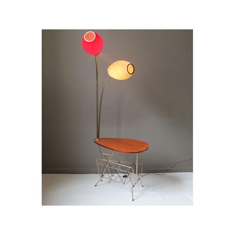 lampadaire tablette porte revues 2 branches vintage ann es 50. Black Bedroom Furniture Sets. Home Design Ideas