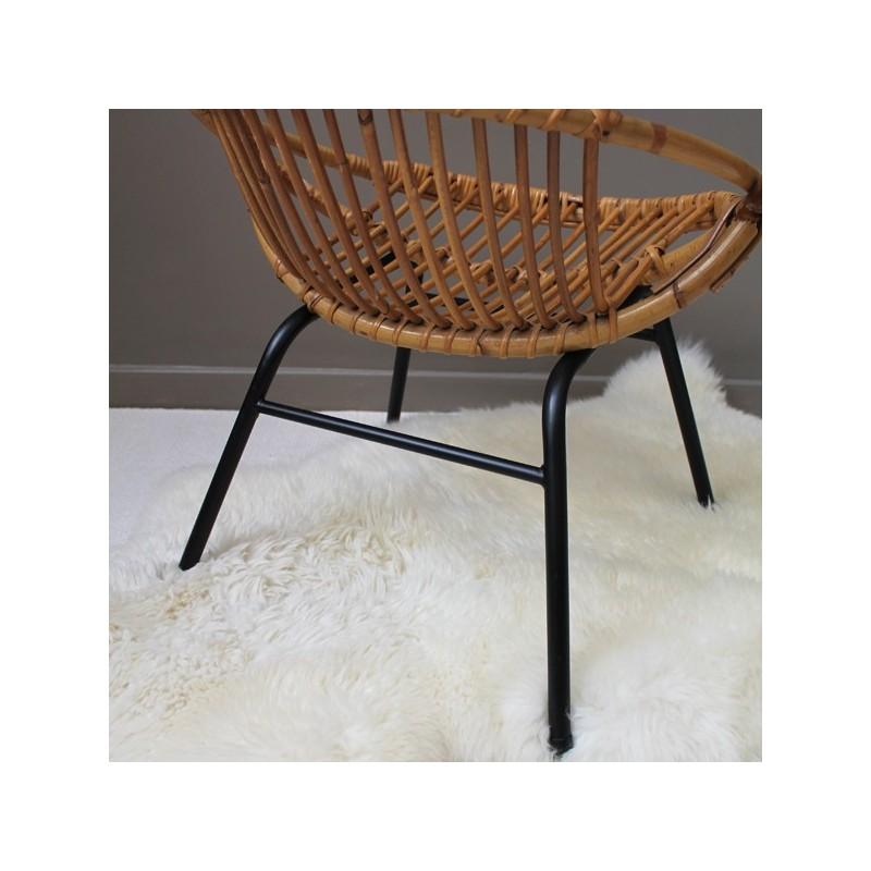 fauteuil rotin vintage adulte pi tement en fer. Black Bedroom Furniture Sets. Home Design Ideas