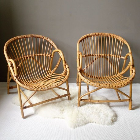 paire fauteuils rotin