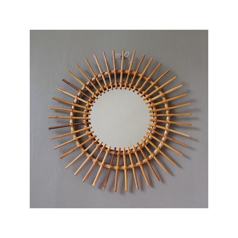 Specchio da strega a forma di sole vintage in vimini - Specchio a forma di sole ...