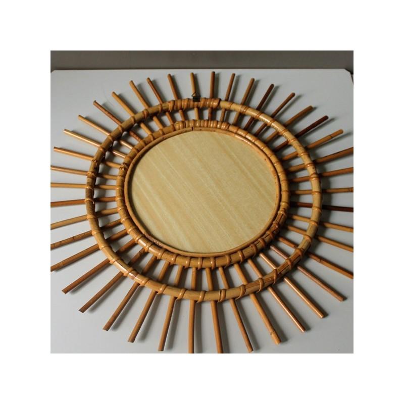 Miroir de sorci re soleil rotin vintage for Miroir soleil sorciere