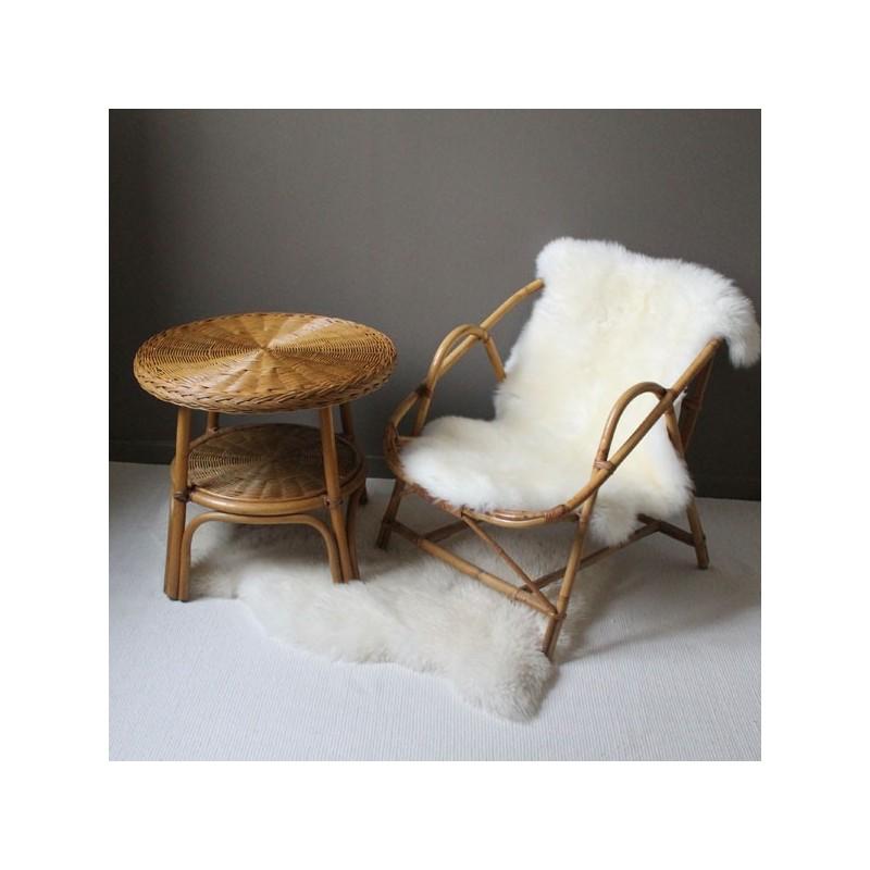 table basse en rotin vintage structure en bambou et double plateaux en rotin. Black Bedroom Furniture Sets. Home Design Ideas