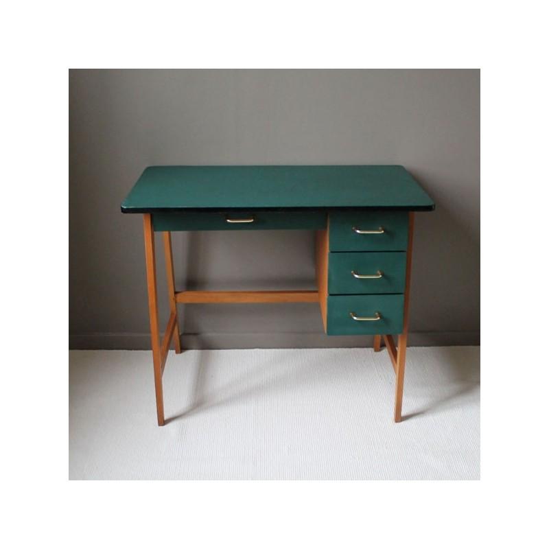 bureau vintage pi tement compas structure h tre plateau et tiroirs ska vert. Black Bedroom Furniture Sets. Home Design Ideas