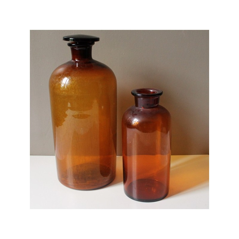 grand pot pharmacie vintage verre fum brun. Black Bedroom Furniture Sets. Home Design Ideas