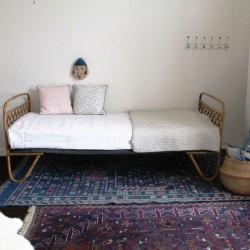 Testa e piede da letto vintage in vimini e bamb - Testa del letto ...