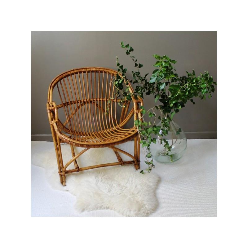 fauteuil en osier bambou et rotin vintage pour adulte. Black Bedroom Furniture Sets. Home Design Ideas