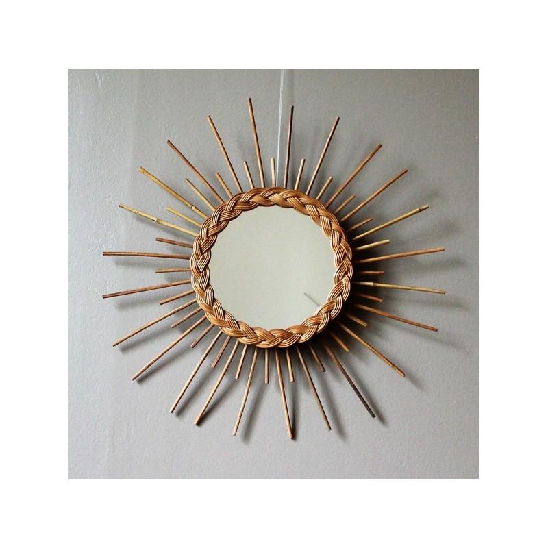 Specchio a forma di sole in vimini vintage - Specchio a forma di sole ...