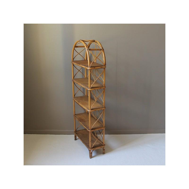 biblioth que de sol en rotin et canne de bambou vintage. Black Bedroom Furniture Sets. Home Design Ideas